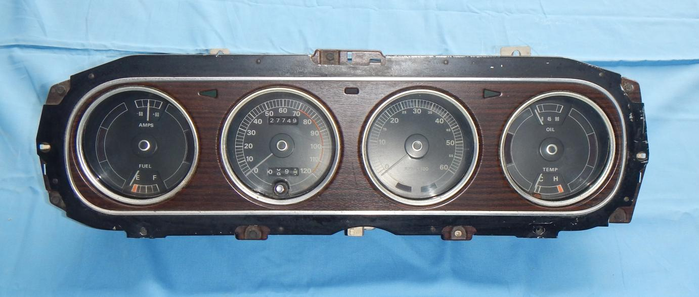 Click image for larger version.  Name:70' Cougar XR-7 Guage Cluster with Tach in Wood Grain.jpg Views:747 Size:102.2 KB ID:59857