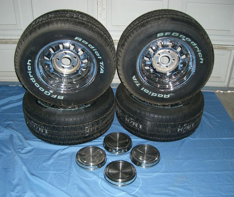 Click image for larger version.  Name:Set of 4  P245 - 60R-14 Tires - Chrome Rims - Center Caps .jpg Views:823 Size:97.8 KB ID:59905