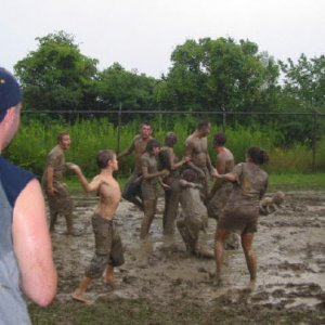 What else to do in the mud, play football!