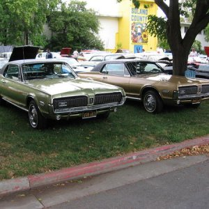 My Lime Frost '68 Standard (bench seat) and my brother's Grecian Gold '68 XR-7 at 2009 Fun Ford Sunday