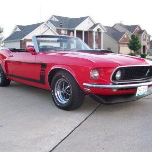 1969 red mustang before