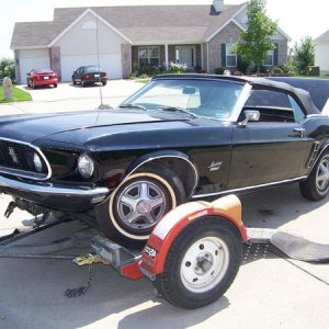 1969 Black Mustang before