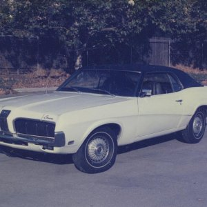 1970 Cougar Standard Coupe - 351-W, AT, PS, PDB, white w/ black vinyl top.   One of my project cars for summer of 1985.    *** SOLD ***