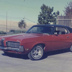 1970 Cougar Standard Coupe - 351-W, AT, PS, PDB, red w/ black vinyl top.   One of my project cars for summer of 1985.    *** SOLD ***